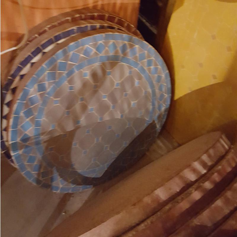 Mozaiek tafelblad - 50 cm | grijs/lichtblauw