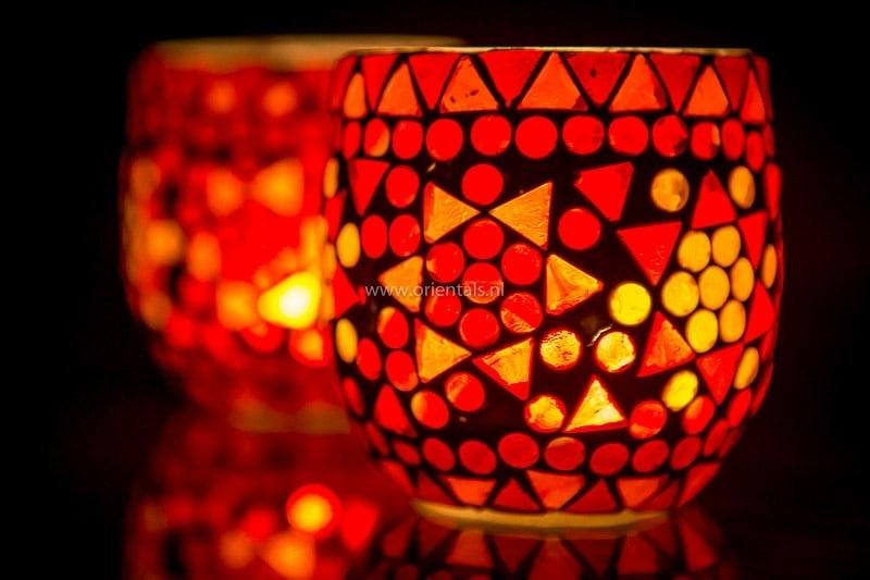 Waxinehouder - rood fine   glasmozaiek