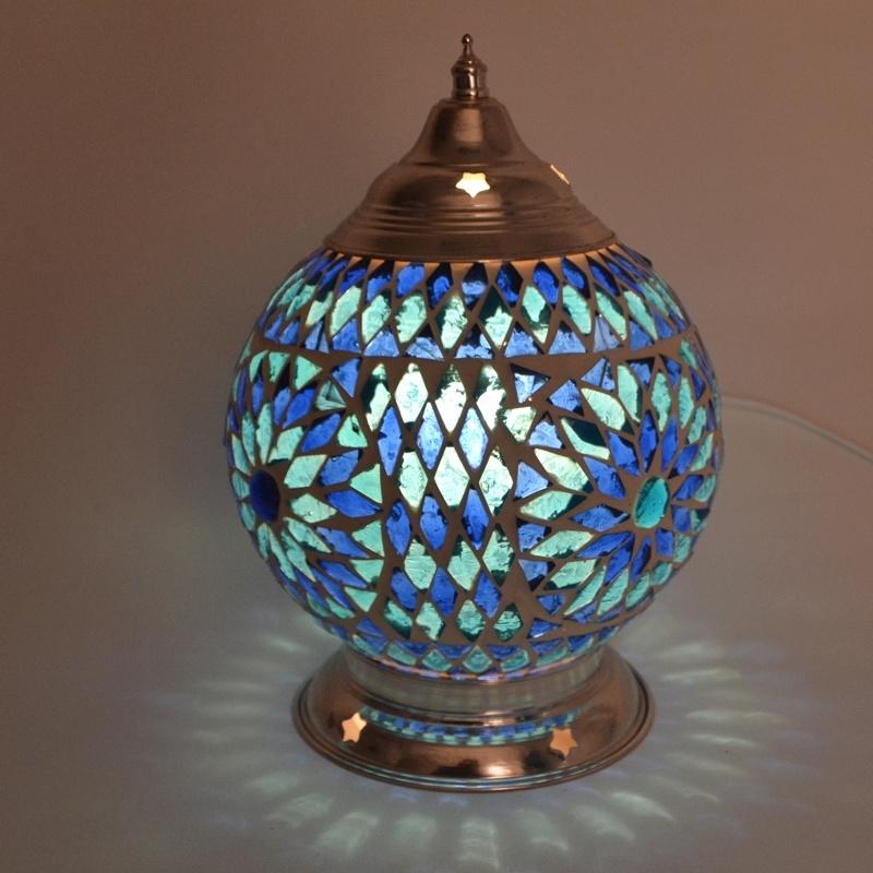 Tafellamp S - Glasmozaiek | blauw
