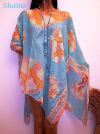 PON452  NEW IBIZA BEACH PONCHO  34 t/m 54 SOLD