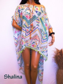 PON444 NEW IBIZA BEACH PONCHO  34 t/m 54 SOLD
