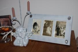 Brocante fotolijst voor drie foto`s