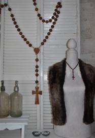 Prachtige houten rozenkrans met houten kruis, vintage/brocant