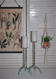 Set van 2 vintage kandelaars, groen/used look