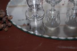 Brocante likeurset op ovale spiegel