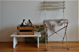 Leuk brocant  houten bankje in wit/old look