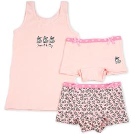 Funderwear meisjes setje poesje roze (92/98 t/m 140/146)