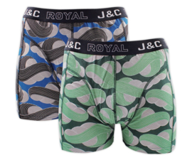 J&C boxershort H236 groen/blauw (2-pack)
