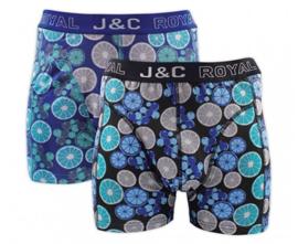 J&C boxershort H237 zwart/aqua (2-pack)