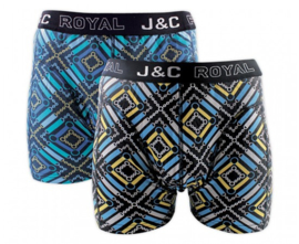 J&C boxershort H242 purple/arctic blue (2-pack)