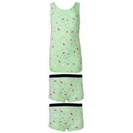 Funderwear meisjes setje snoepjes groen (92/98 en 116/122)