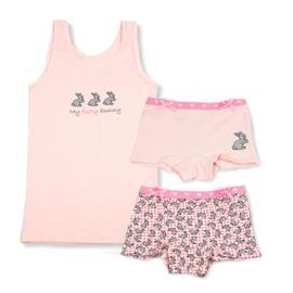 Funderwear meisjes setje konijn roze (92/98 t/m 140/146)