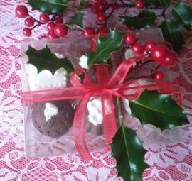 Doosje met 6 grote chocolade bonbons.