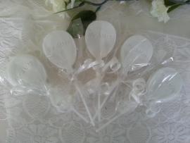 10 st. Zeeplolly Ballon met tekst  Mr & Mr, Mr & Mrs, Mrs & Mrs
