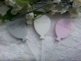 10 st. Zeeplolly Ballon met tekst  Mr & Mr, Mr & Mrs, Mrs & Mrs