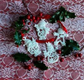 4 verschillende kerstzeepjes in organza zakje