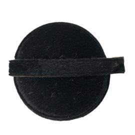 Leren onderzetter rond -  bont zwart