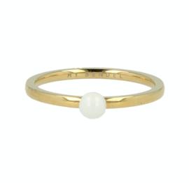 My Bendel - Ring met bol Wit - Goud