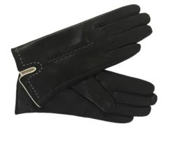 Leren handschoen zwart  met stiksel