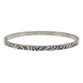 Kalli armband 2163- 4 mm tijgerprint - Zilver