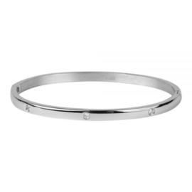 Kalli armband 2141- 4 mm bol met steentjes - Zilver