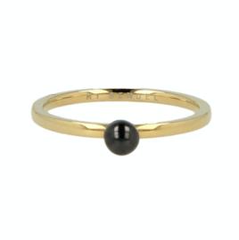 My Bendel - Ring met bol Zwart - Goud