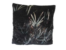 Kussen fluweel met bladprint