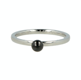 My Bendel - Ring met bol Zwart - Zilver