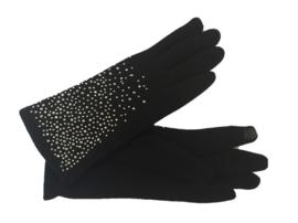 Handschoen zwart met zilveren strass