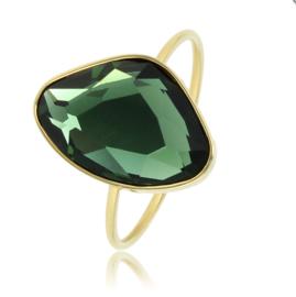 My Bendel - Ring met grote groene steen - Goud