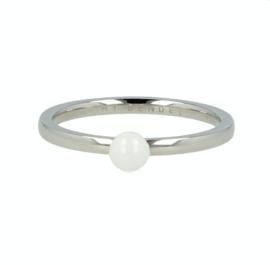 My Bendel - Ring met bol Wit - Zilver