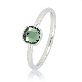 My Bendel - Ring met groene steen - Zilver