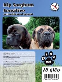 Dinapet Graanvrij, Kip Sorghum Sensitive 15 kg    100% tarwe en gluttenvrij (Natuurlijk koud geperste brok)