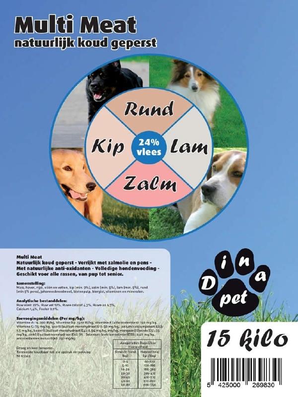 Dinapet Multi meat (natuurlijk koud geperste brokken)met 4soorten vlees:Lam /Kip/Rund/Zalm zak 15kg