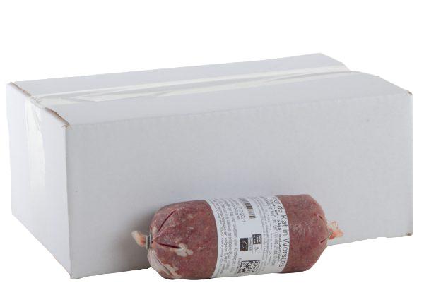 DARF Kat KVV. zit in een doosje met 1,4 kg kvv verdeeld in worstjes van circa 95 gram per stuk.