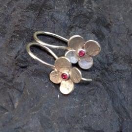 oorbellen hortensiabloem in zilver