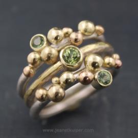 set van drie ringen in groen