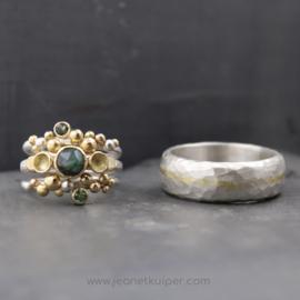 3-set ringen en gehamerd zilver met ingewalst goud