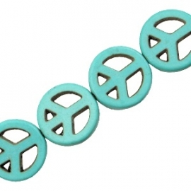 Turquoise Keramiek kralen peace 15mm turquoise blauw 37539