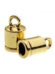 DQ eindkapje voor 3mm metaal goudkleur Pp702