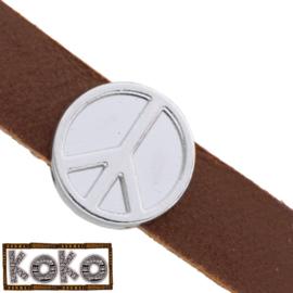 Leerschuiver  Koko Peace voor 10mm antiekzilver metaal FG525