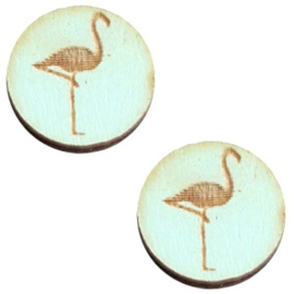 Cabochon plat 12mm hout sea green flamingo 42048