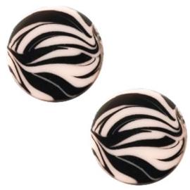 Cabochon Polaris plat 12mm zebra rosa pink 43773