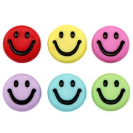 "Letterkraal ""smiley"" acryl plat rond 7mm multicolor 5 stuks"