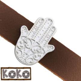 Leerschuiver  Koko Hamsa hand voor 10mm antiekzilver metaal FG502