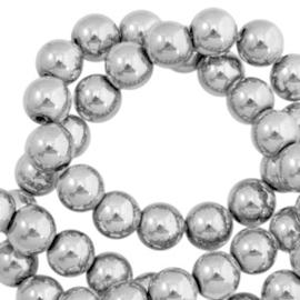 Hematite kralen rond 4mm silver grey 10 stuks 44464