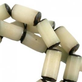 Buri zaden tube 13x8mm natural beige 22444