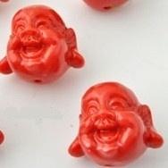 Boeddha kraal 20x19mm rood