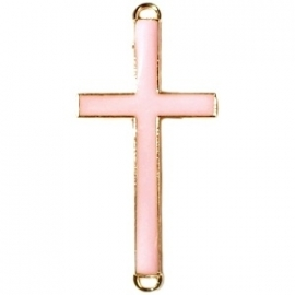 Kruis tussenzetsel 37x17mm zacht roze-goud