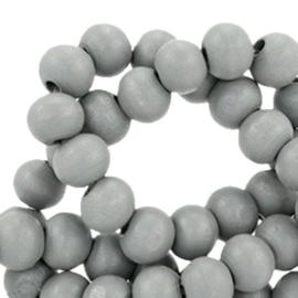 Houten kralen 6mm donker grijs 38496 10 stuks